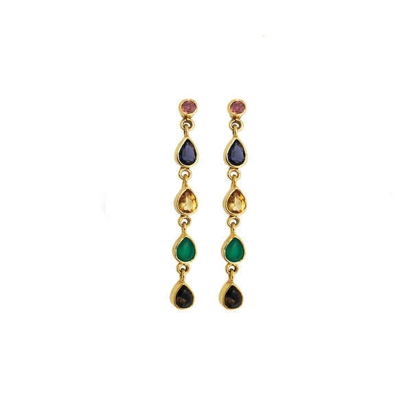gold plated sterling silver earrings with different colored gemstones