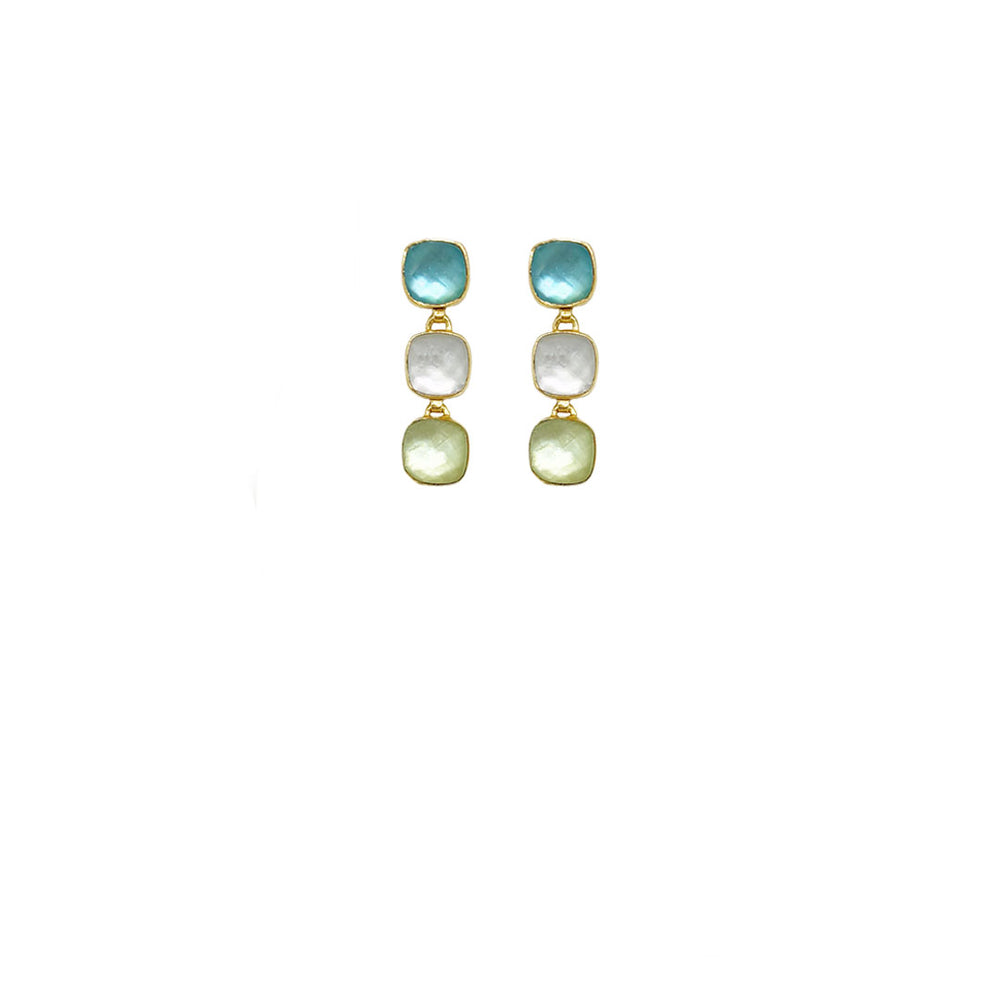 CARRÉ 3 STONE BLUE GOLD-PLATED EARRINGS