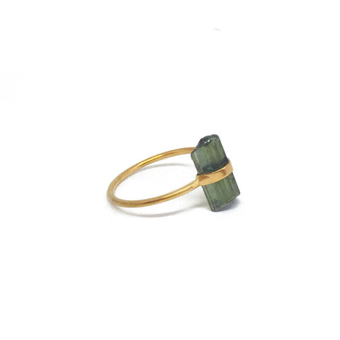 gold plated sterling silver ring with raw tourmaline stone