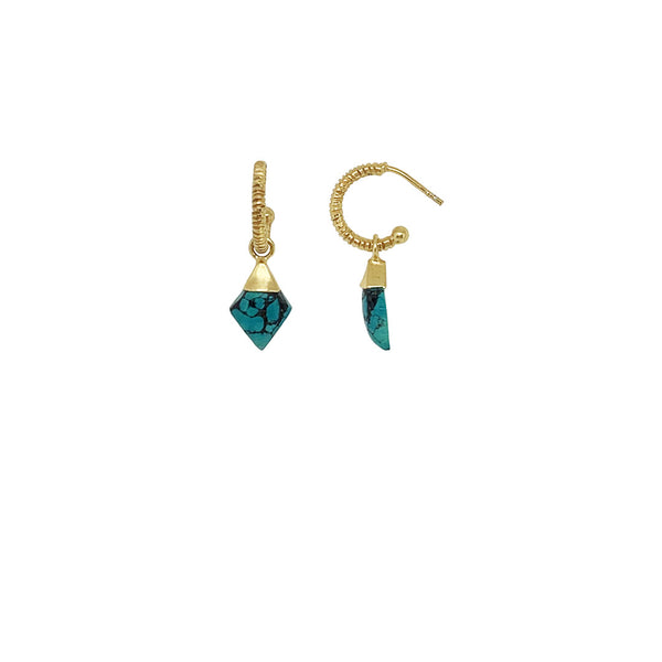 Gold plated creole earring with turquoise stones