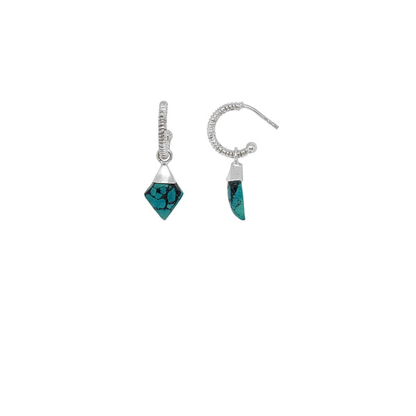 sterling silver creole earring with turquoise stones