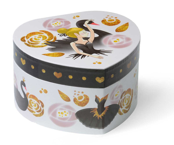 black swan musical jewelry box