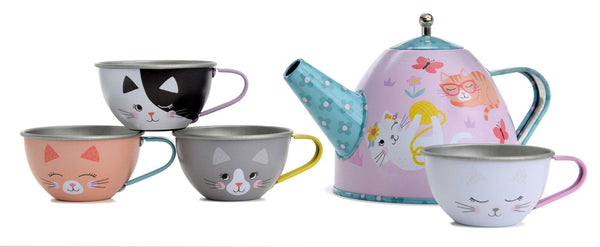 cat tea set for children