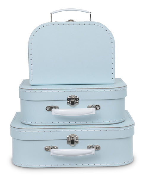 Set of 3 Nesting Storage Suitcases - Baby Blue Pastel
