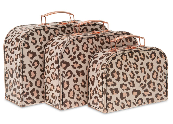 Set of 3 Nesting Storage Suitcases - Leopard