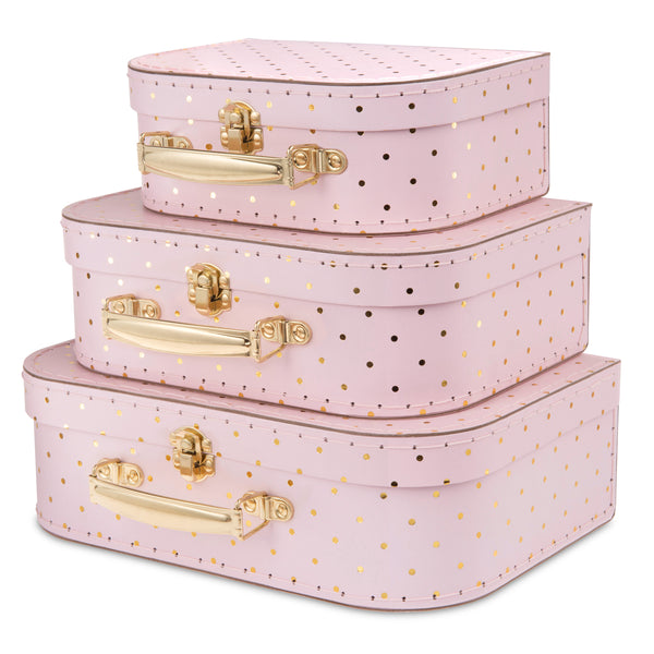 Set of 3 Nesting Storage Suitcases - Pink and Gold