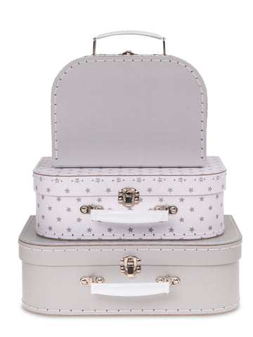 Set of 3 Nesting Storage Suitcases - Starry Night