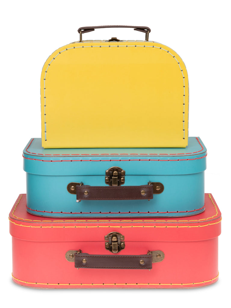 Set of 3 Nesting Storage Suitcases - Multi Color