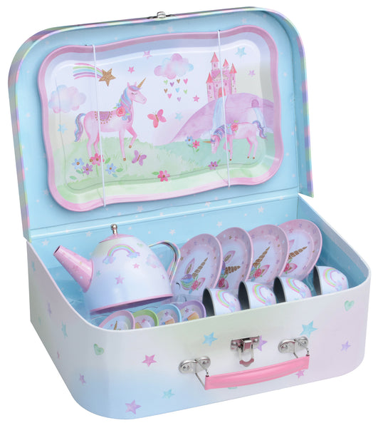 15pc. Party Unicorn Tin Tea Set