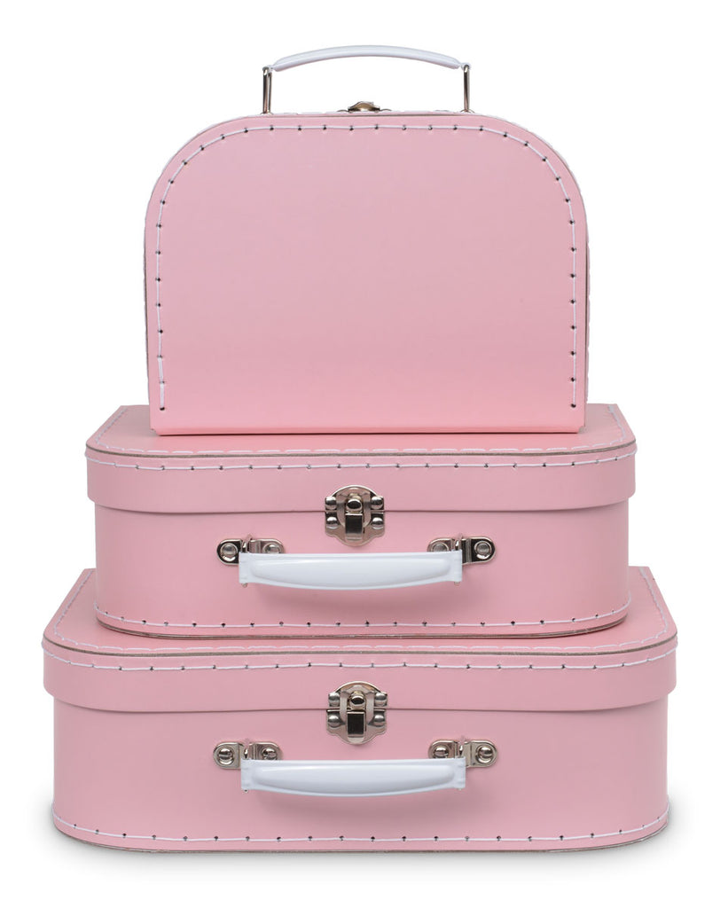 Set of 3 Nesting Storage Suitcases - Pink Pastel