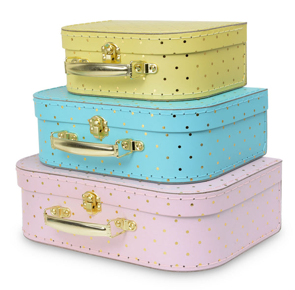 Set of 3 Nesting Storage Suitcases - Gold Polka Dot