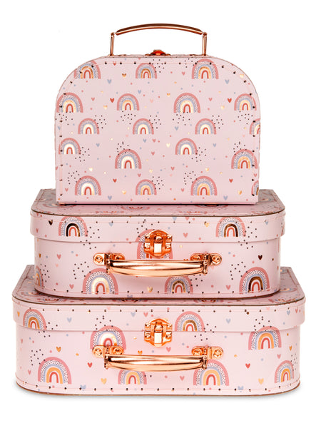 Set of 3 Nesting Storage Suitcases - Boho Rainbow