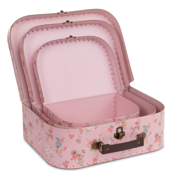 Set of 3 Nesting Storage Suitcases - Pink Floral