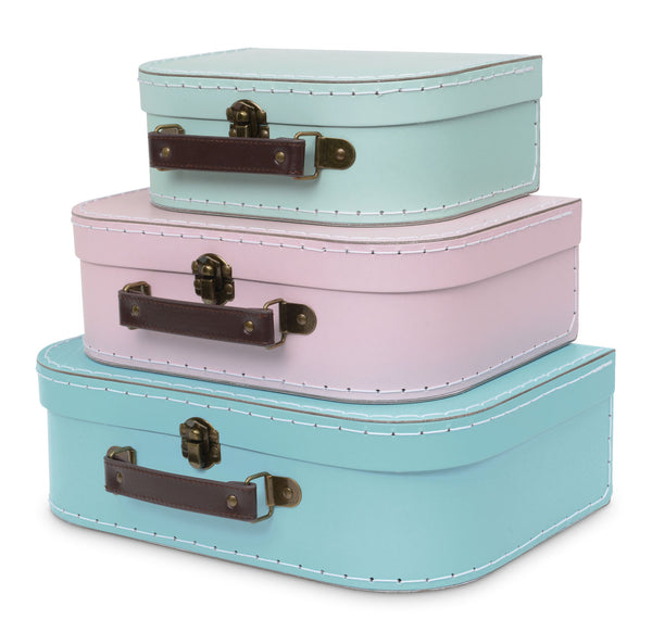 Set of 3 Nesting Storage Suitcases - Retro Pastel
