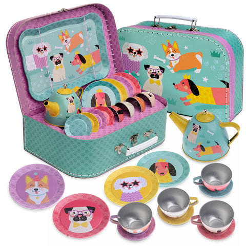 15pc. Party Dog Pawty Tin Tea Set