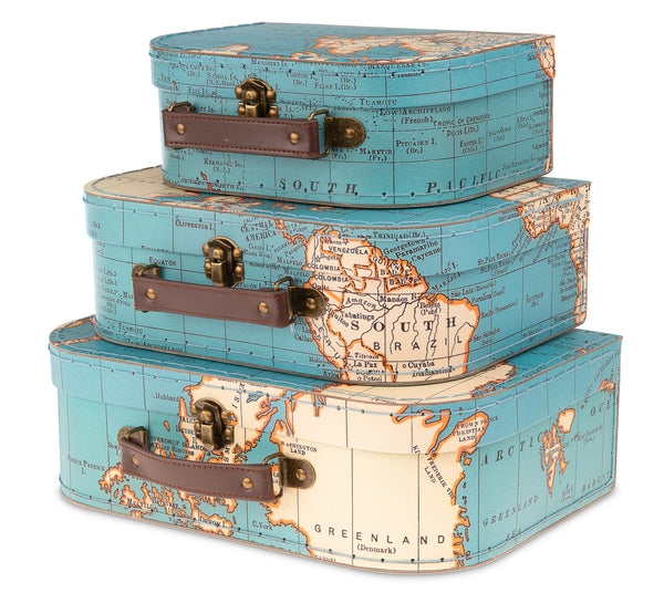 Set of 3 Nesting Storage Suitcases - Vintage Map