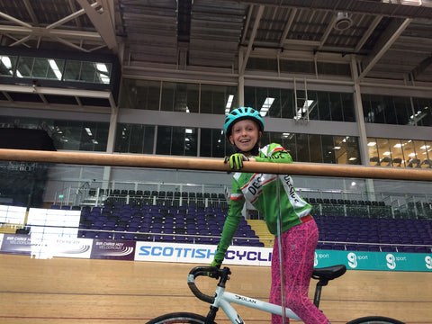 Thea on the track at the velodrome