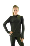 Girls core elite 1/4 zip long sleeve black front