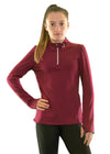 Girls core elite 1/4 zip long sleeve maroon front