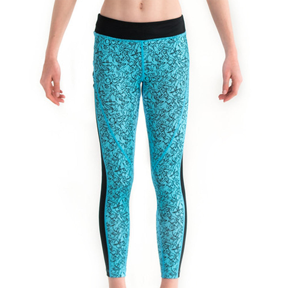 Junior Girls Sports Fitness Leggings Running Tights Blue