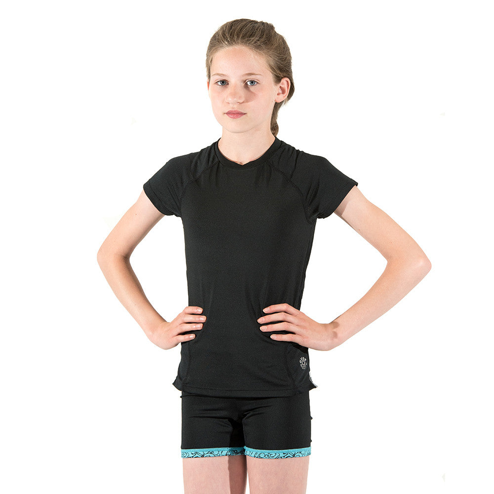 Girls Sports Tops Running T Shirts Breathable Black