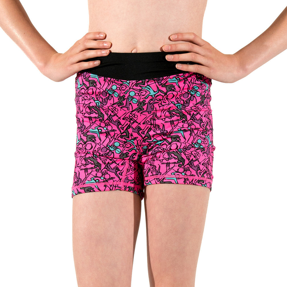 Girls Sports Fitness Running Shorts Reversible Pink