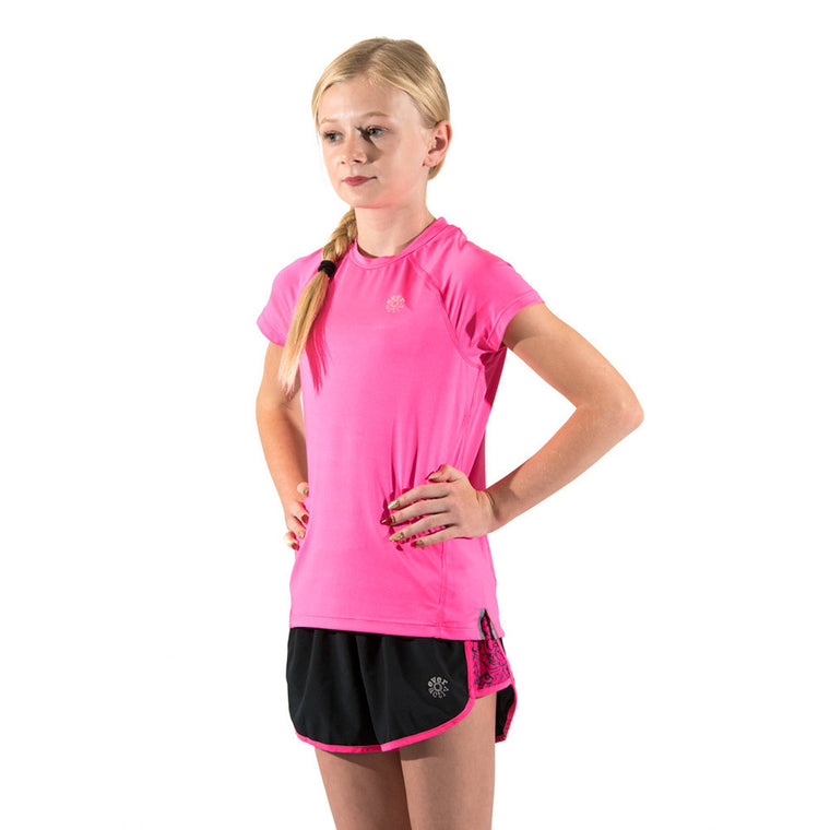 Girls Sports Tops Running T-Shirts Breathable Pink