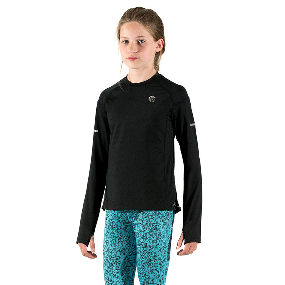 Girls Sports Top Long-Sleeve Base Layer Black