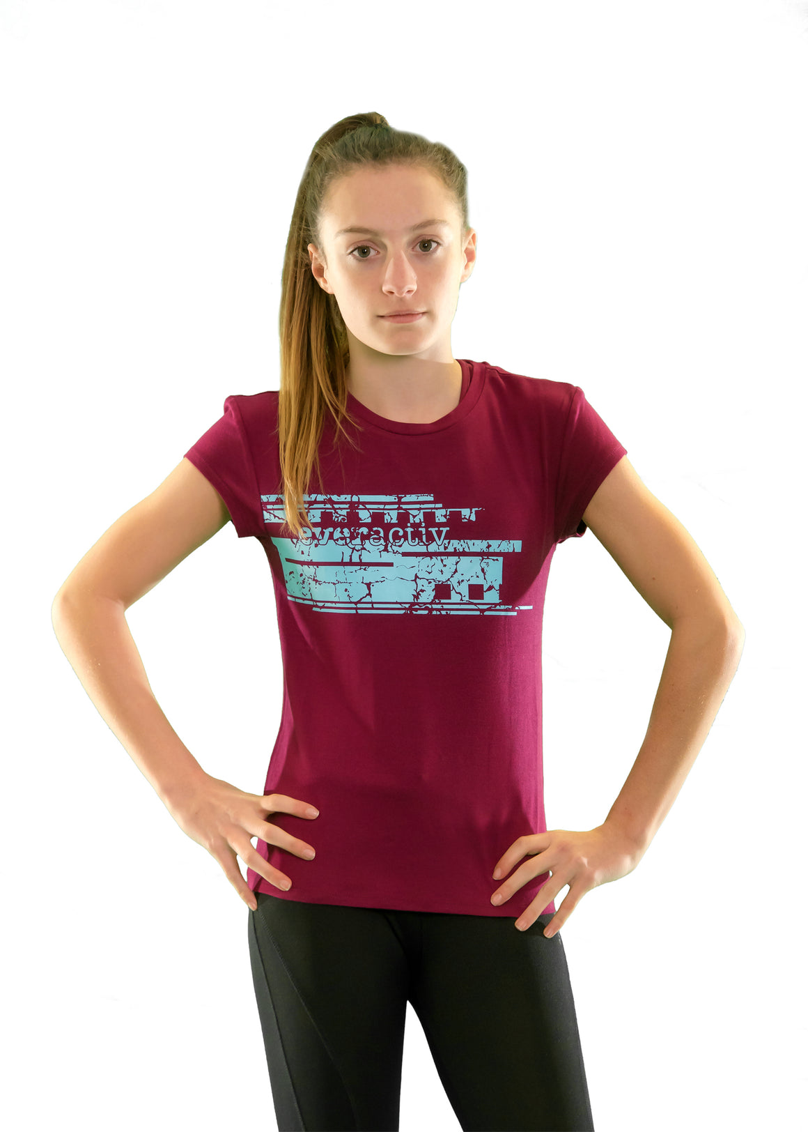 Girls core elite bamboo sports t-shirt maroon