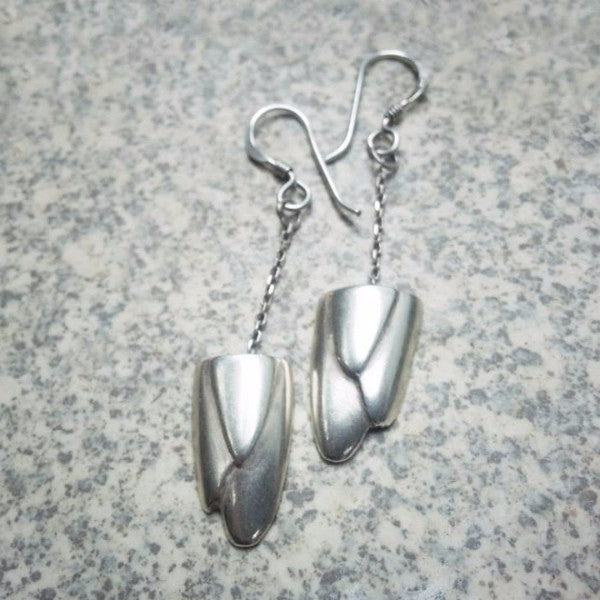 Short deco sterling silver earrings