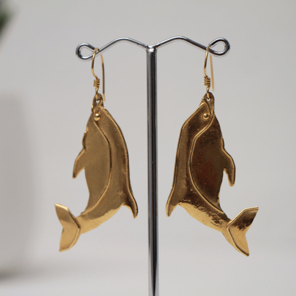 Phoenician Gold Dolphin Earrings