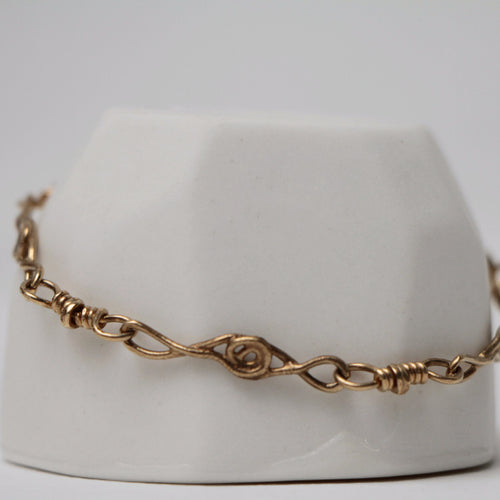 Gold Twist and Bead Bracelet
