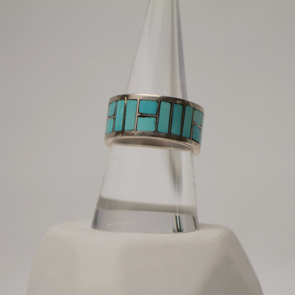 Turquoise Silver Band Rings