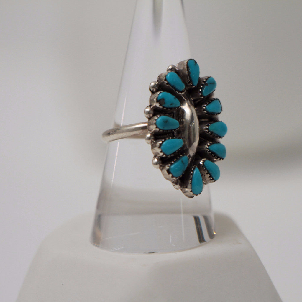 Petit Point Turquoise Silver Ring