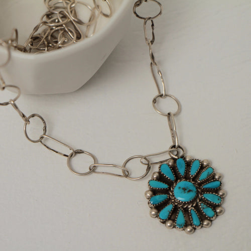 Turquoise Silver Pendant Handmade chain