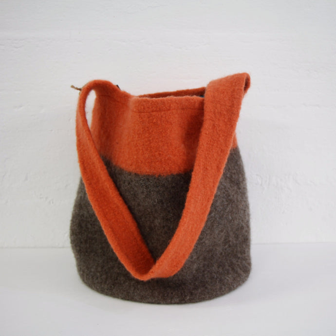Orange Felted Wool Bag
