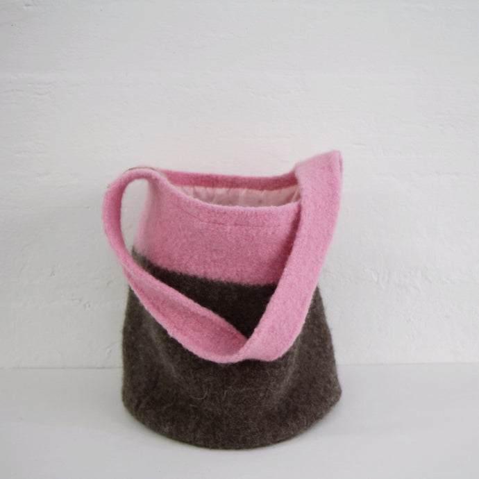 Pink Felted Wool Bag