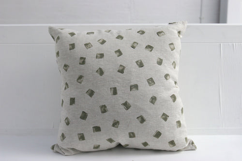 Linen Patch Olive Cushion