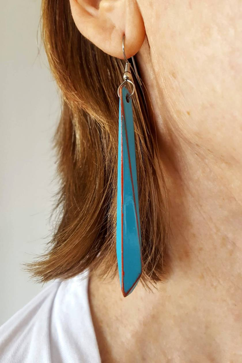 Hand Painted Recycled Wood Earrings