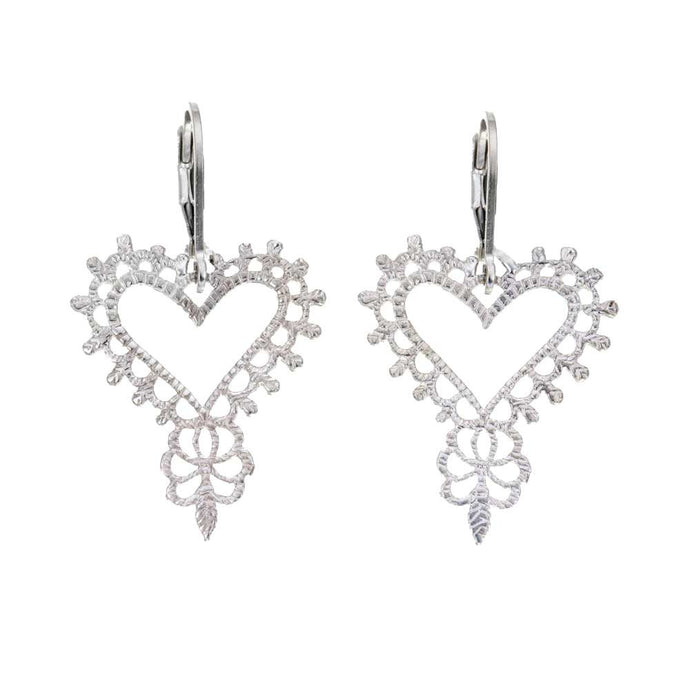 Silver Gypsy Heart Earrings