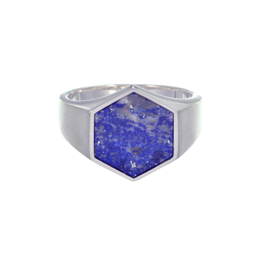 Sterling Lapis Lazuli Hexagon Ring