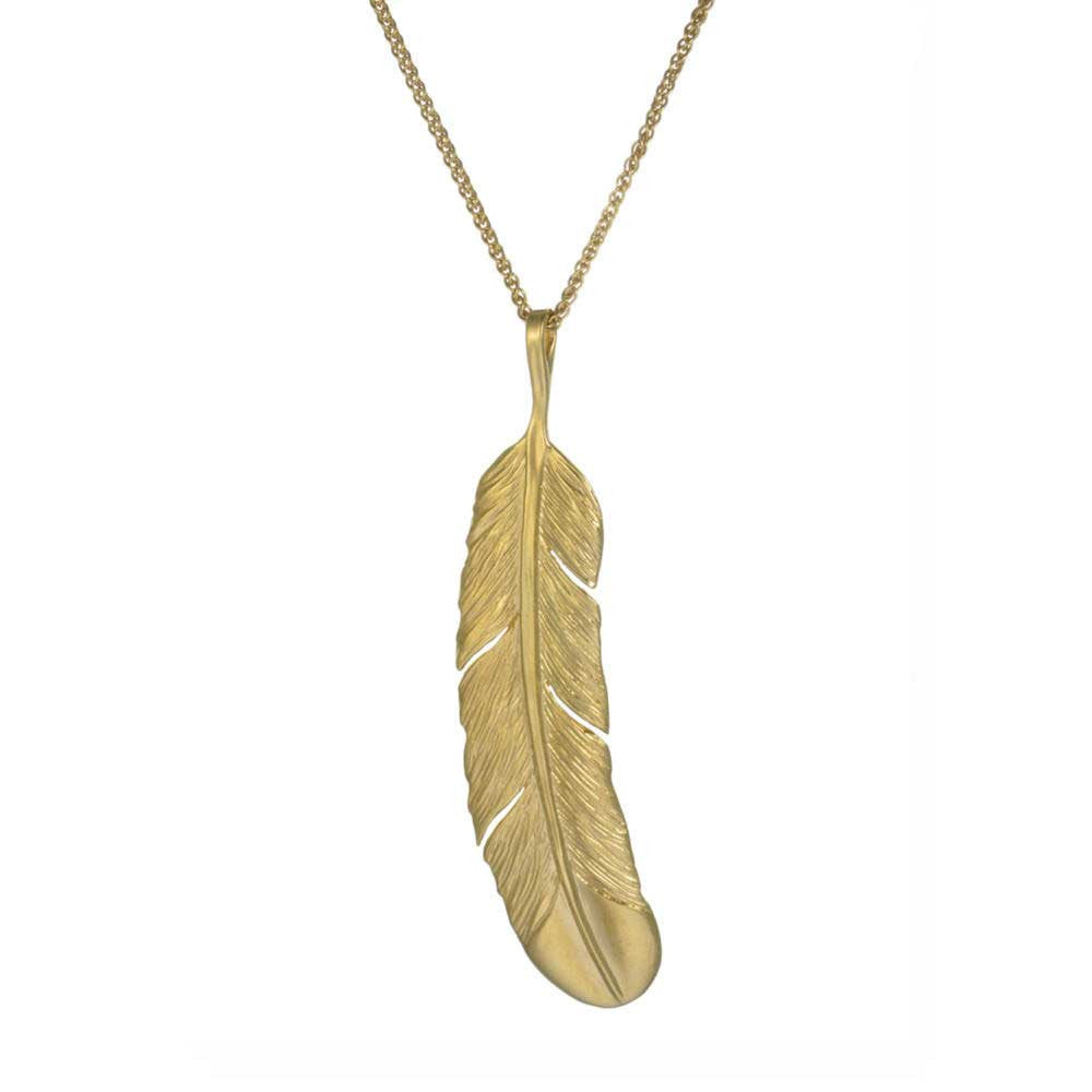 Gold Huia Feather 22 ct gold plated Necklace