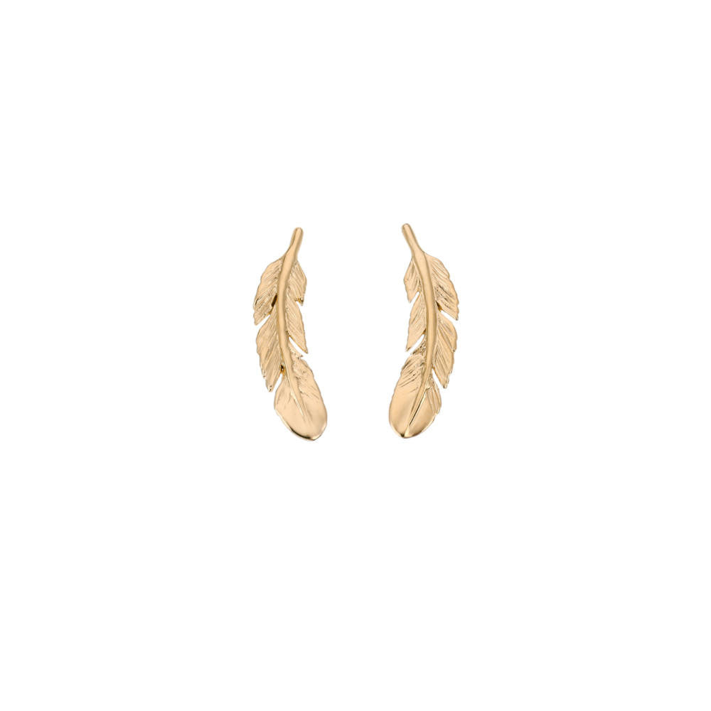 Gold Huia Feather 22 ct Gold Plated Stud