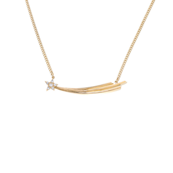 Gold Shooting Star Necklace Set with White Zircon