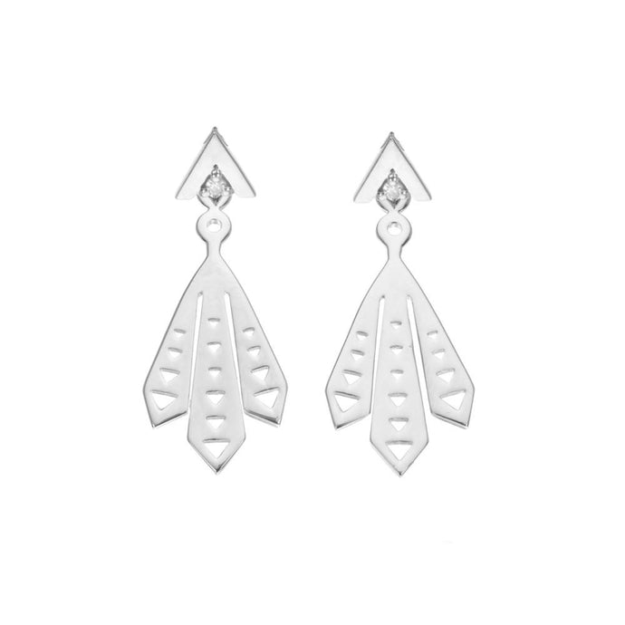 Piwakawaka Ear Jacket Diamond Sterling Silver Earrings
