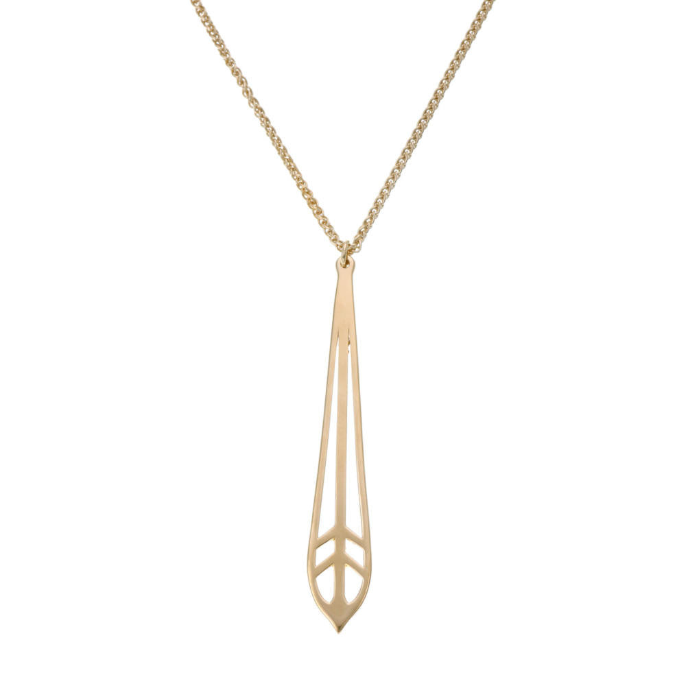 Gold Fantail Feather Necklace