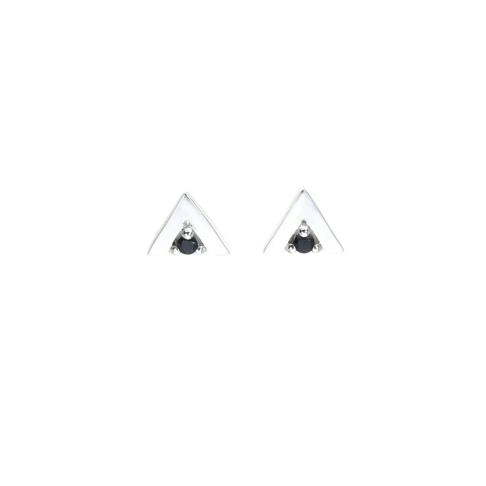 Silver Triangle Stud Set with Black Spinel