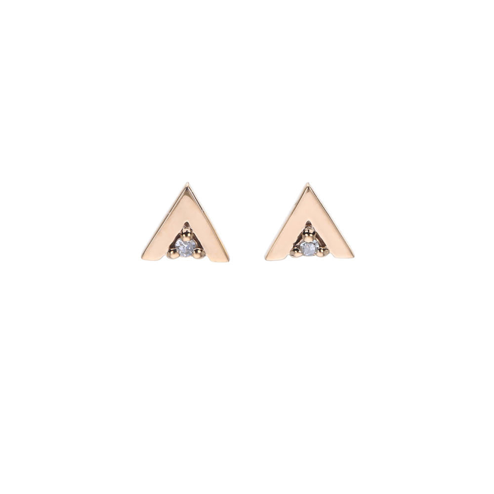 Gold Triangle Stud Set with White Zircon
