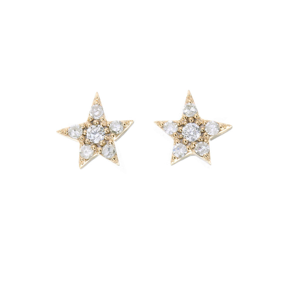 Gold Twin Stars Earrings Set with White Zircon