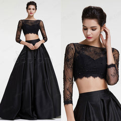 Black ball gown prom dress long sleeves quinceanera dresses